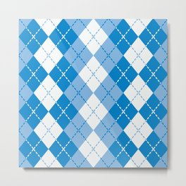 Argyle Design in Blue and White Metal Print