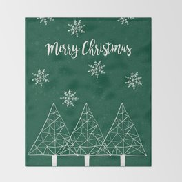 Merry Christmas Green Throw Blanket