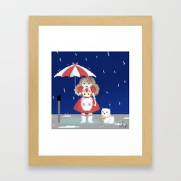 Bee and Puppycat in the Rain Framed Art Print
