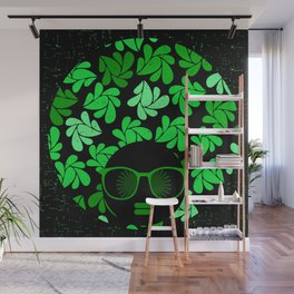 Afro Diva : Green & Black Wall Mural