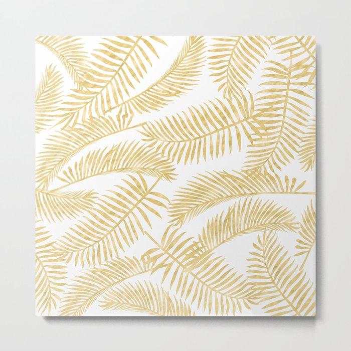 Palm Leaf Pattern Gold Metal Print