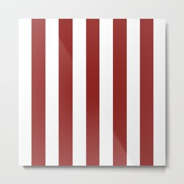 Vivid auburn red - solid color - white vertical lines pattern Metal Print