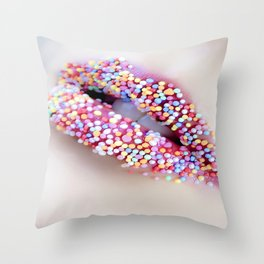 woman sweet colourful color Throw Pillow
