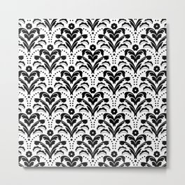 Retro Deco Damask Black and White Metal Print