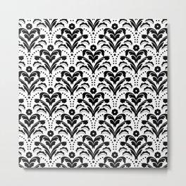 Retro Deco Damask Black and White Metal Print