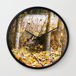Deer In The Aspens Wall Clock