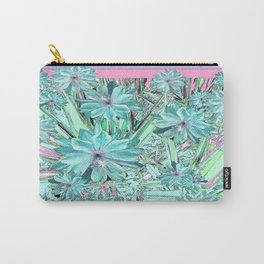 Lilac-Pink-Aqua Pastel Tropical Flowers Art Carry-All Pouch