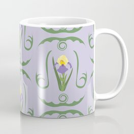 Iris Flowers Illustrated Pattern Purple Green Yellow Summer Garden Coffee Mug