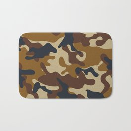 Brown Army Camo Camouflage Pattern Bath Mat