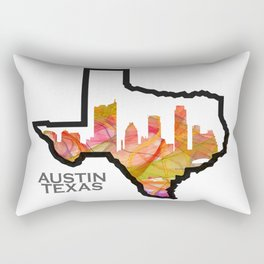Texas State Map with Austin Skyline Rectangular Pillow