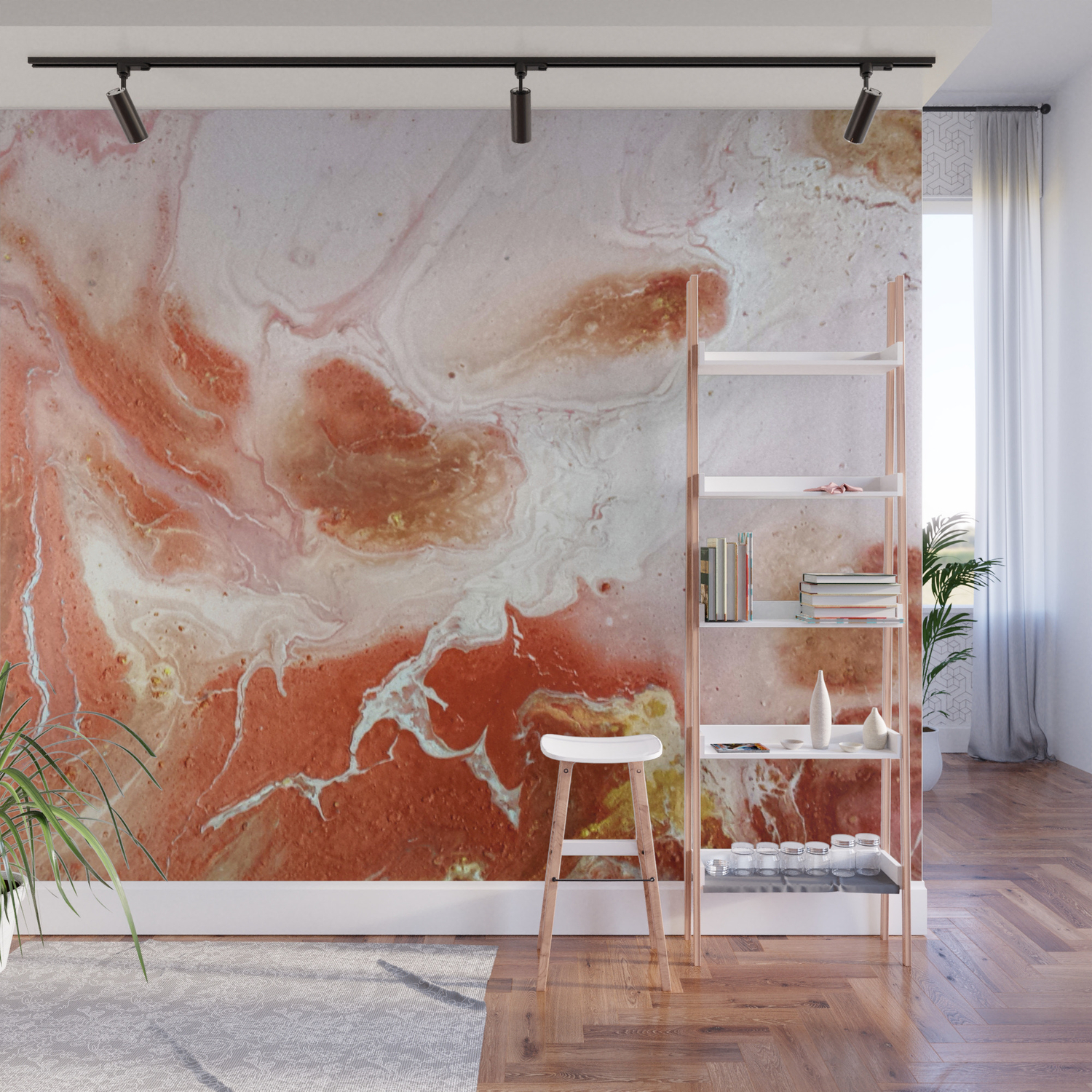 Dirty Pink Marble Wall Mural By Thebuttonartstudio Society6