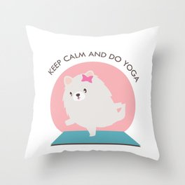 Kawaii Yoga Dog Pose Throw Pillow