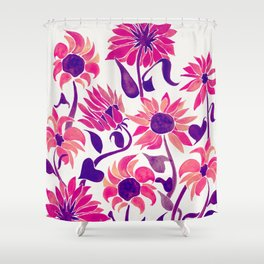 Sunflower Watercolor – Pink & Purple Palette Shower Curtain