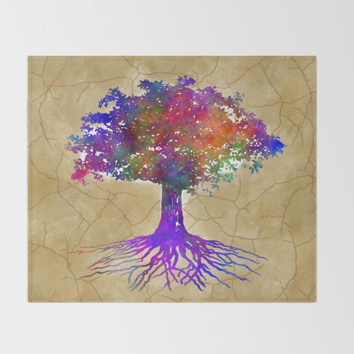 40bb44a5e50e Tree Of Life Batik Print Throw Blanket by camenescreations