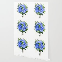 Hydrangea Flowers, floral sky blue soft green Sage colored art Wallpaper