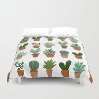 succulent Duvet Covers featuring succulent by Carrie Radford