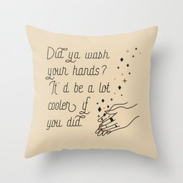 Wash Your Hands in Black & Mauve Throw Pillow
