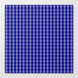 Navy Blue Gingham Check Plaid Pattern Canvas Print