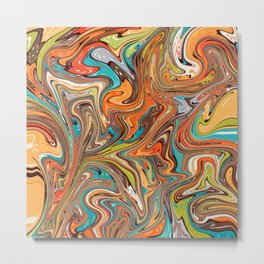 Marbling - bright autumn Metal Print
