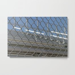 Bleachers Behind Fence Metal Print