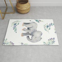 Bear & Mouse - Cute 4 Kids - Little Elephant In Flower Meadow Pattern I Rug