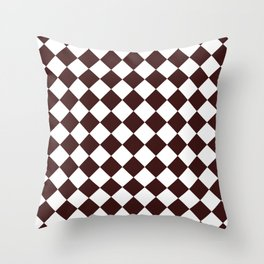 Diamonds - White and Dark Sienna Brown Throw Pillow