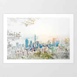 modern city skyline aerial view under sunrise and blue sky in Hong Kong, China Art Print