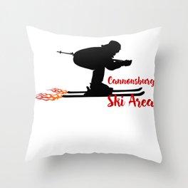 Ski speeding at Cannonsburg Ski Area Throw Pillow
