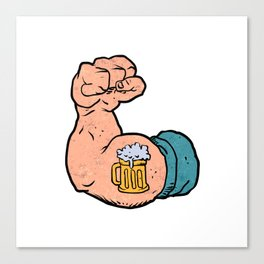 arm flexed with beer tattoo Canvas Print