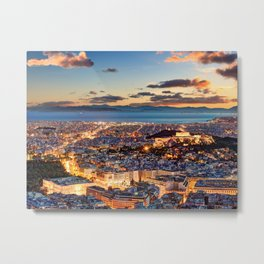 Athens after sunset with a view of the Parthenon on the Acropolis, the Parliament and the Saronic islands in Greece Metal Print