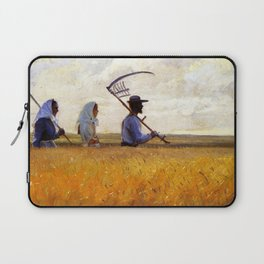 Fields of Gold, The Harvest at Golden Twilight family portrait painting by Anna Ancher Laptop Sleeve