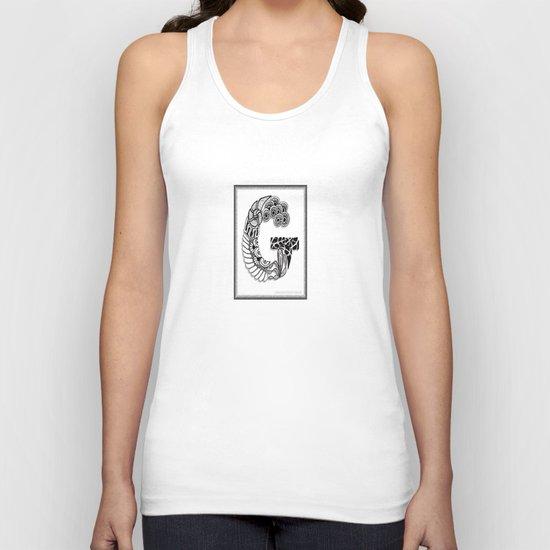 Zentangle G Monogram Alphabet Illustration Unisex Tank Top
