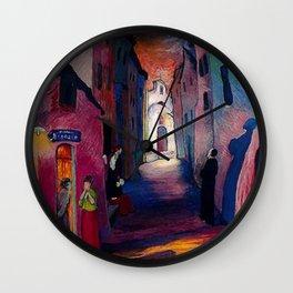 'Ava Maria', Italian Village Landscape Painting by Marianne Von Werefkin Wall Clock
