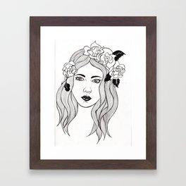 Face and Flowers. Framed Art Print