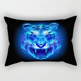 Blue Fire Tiger Face Rectangular Pillow