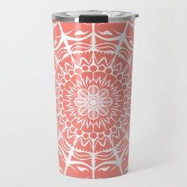 Coral Mandala on Light Background Travel Mug