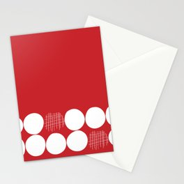 White Dots on Red Background Stationery Cards