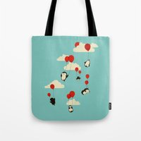 tangled Tote Bags featuring We Can Fly! by Jay Fleck