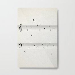 Music Score with Birds Metal Print