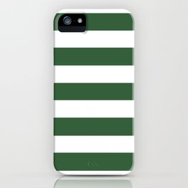 Hunter green -  solid color - white stripes pattern iPhone Case