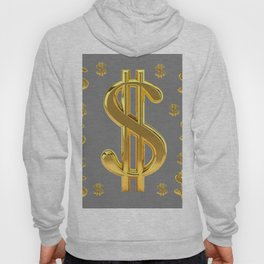 GOLDEN MONEY DOLLARS & CHARCOAL GREY  PATTERN MODERN ART Hoody