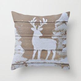 Wood slat deer in the snowy woods Throw Pillow