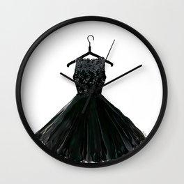 Little black dress on a hanger Wall Clock