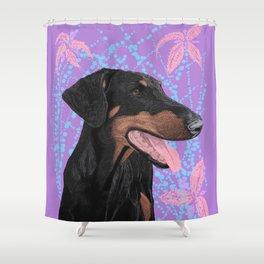 Happy doberman dog - Lila Shower Curtain
