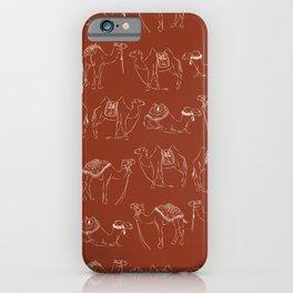 Linocut Camels No. 2 in Rust iPhone Case