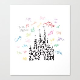black and white character castle with rainbow signatures Canvas Print