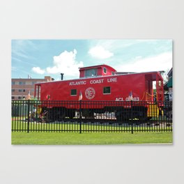 Red Caboose On Display Canvas Print
