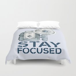 Stay Focused in Watercolor and Typography Duvet Cover