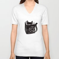 witchcraft V-neck T-shirts featuring Witchcraft Cat by Tobe Fonseca