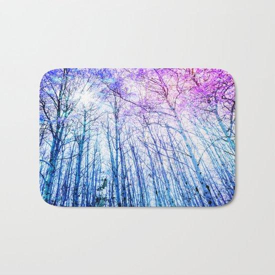 Blue Forest Purple Leaves Bath Mat